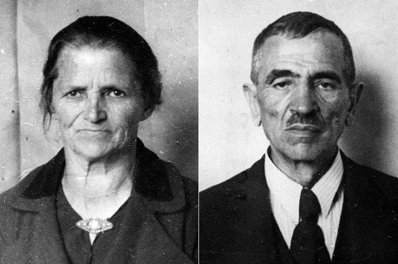Farmor Pesla och farfar Aron på de tyska passbilderna.